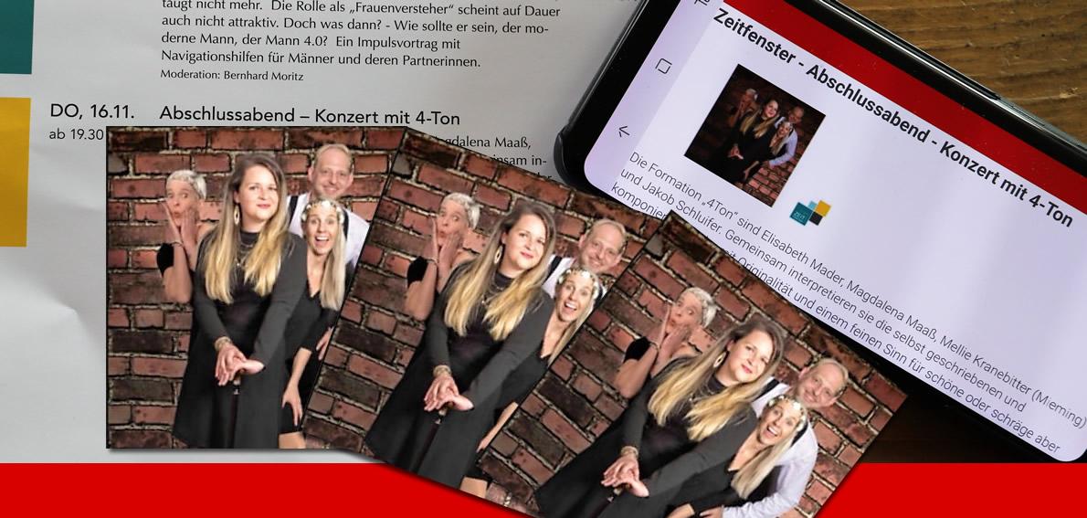 """Zeitfenster 2017 Abschlussabend - Konzert mit """"4-Ton"""", Foto: Mieming.online"""