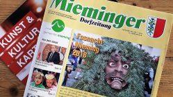 Mieminger Dorfzeitung, Februar-Ausgabe 2018, Foto: Mieming.online