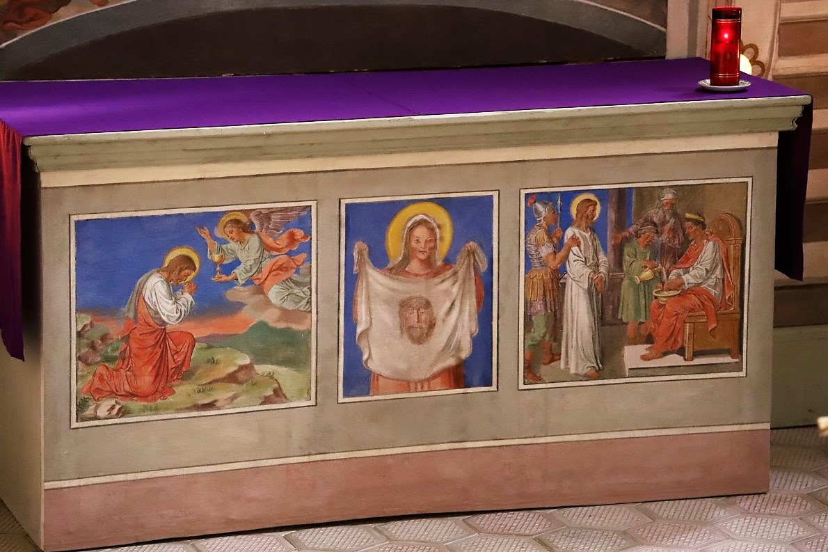 Altar + Heiliges Grab, Pfarrkirche Untermieming, Foto: Knut Kuckel