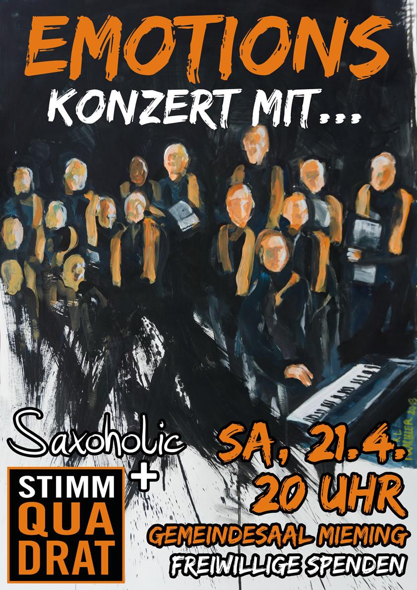"""""""Emotions"""" - Konzert mit Chor Stimmquadrat und Saxaholic. Foto: Margit Offer"""