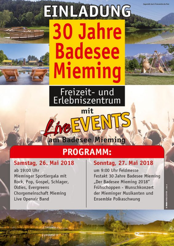 """30 Jahre Badesee Mieming"". Plakat: Wilfried Floriani, Obsteig"